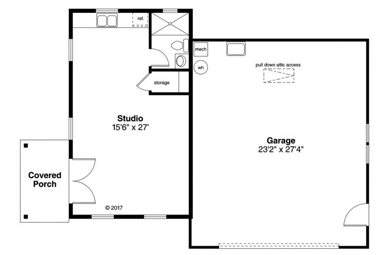 Cottage Garage Plan -  81912