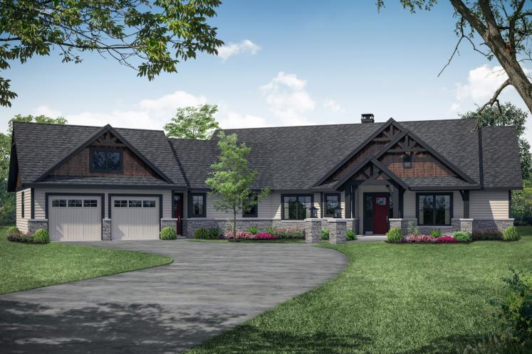 Lodge Style House Plan - Myrtlewood 82013 - Front Exterior