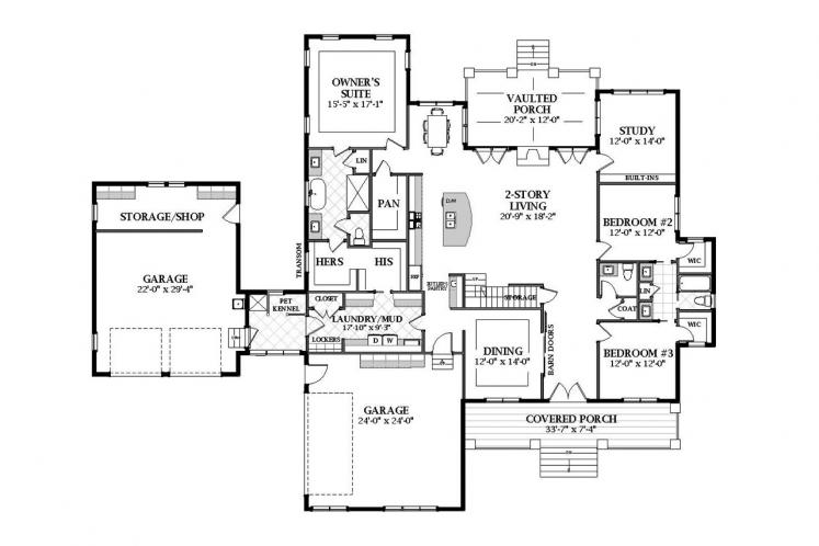 Farmhouse House Plan - Abbington 82043 - 1st Floor Plan