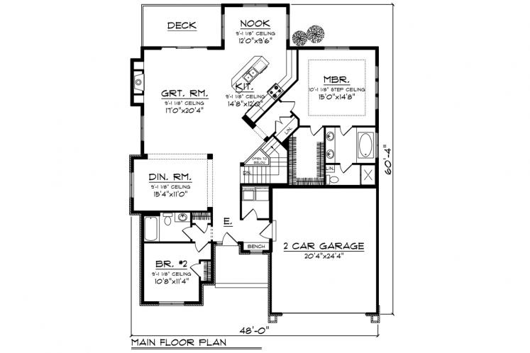 Traditional House Plan -  82119 - 1st Floor Plan