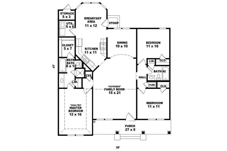 Country House Plan -  82144 - 1st Floor Plan