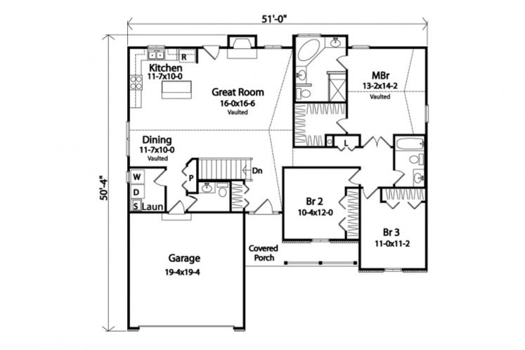 Ranch House Plan -  82237 - 1st Floor Plan