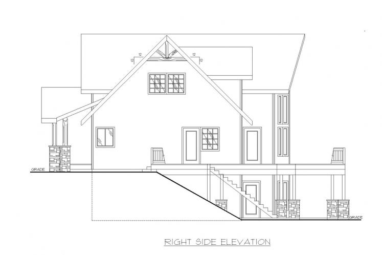 Craftsman House Plan -  82244 - Right Exterior