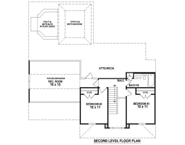 Southern House Plan -  82264 - 2nd Floor Plan