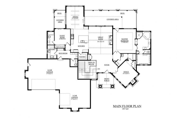 European House Plan - Streamside 82346 - 1st Floor Plan