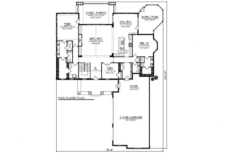 Craftsman House Plan -  82516 - 1st Floor Plan