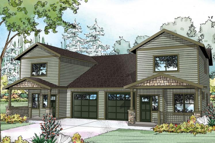 Country Multi-family Plan - Kennewick 82645 - Front Exterior