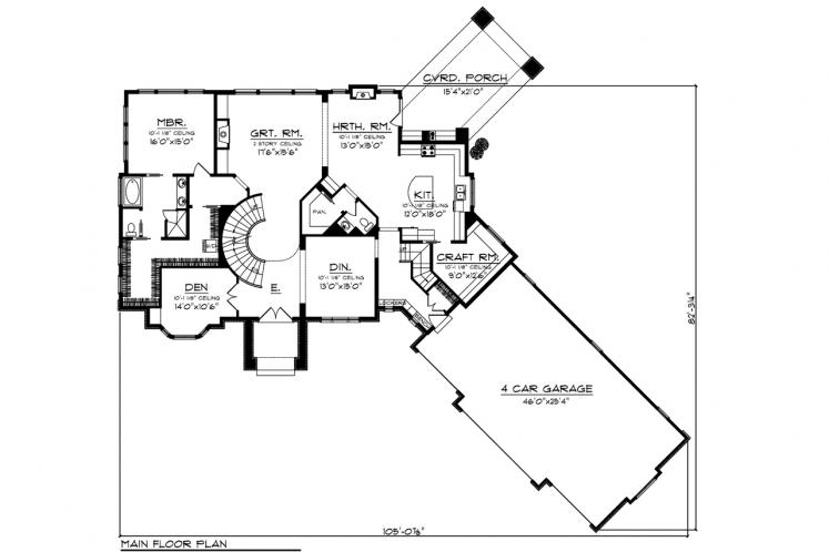 Classic House Plan -  82718 - 1st Floor Plan