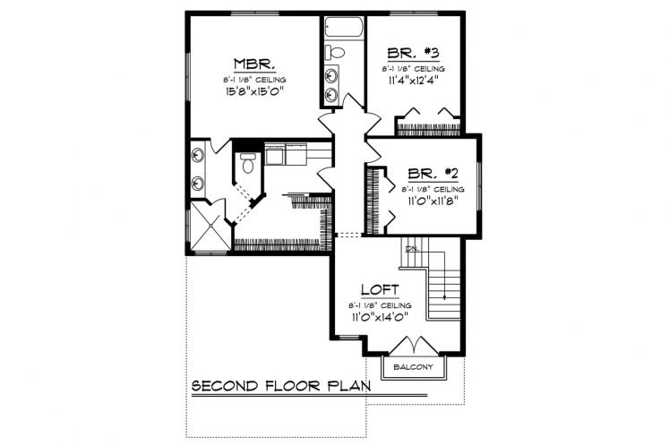 Country House Plan -  82744 - 2nd Floor Plan