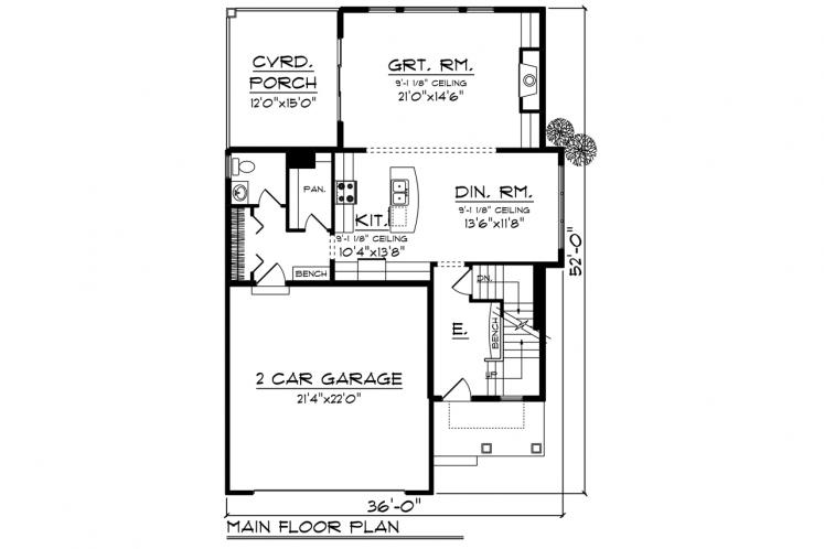 Traditional House Plan -  82744 - 1st Floor Plan