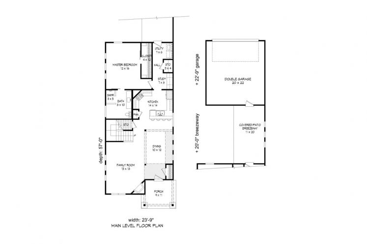 Traditional House Plan -  82852 - 1st Floor Plan