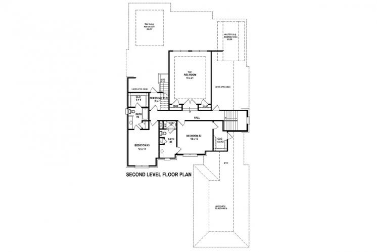 Traditional House Plan -  82890 - 2nd Floor Plan