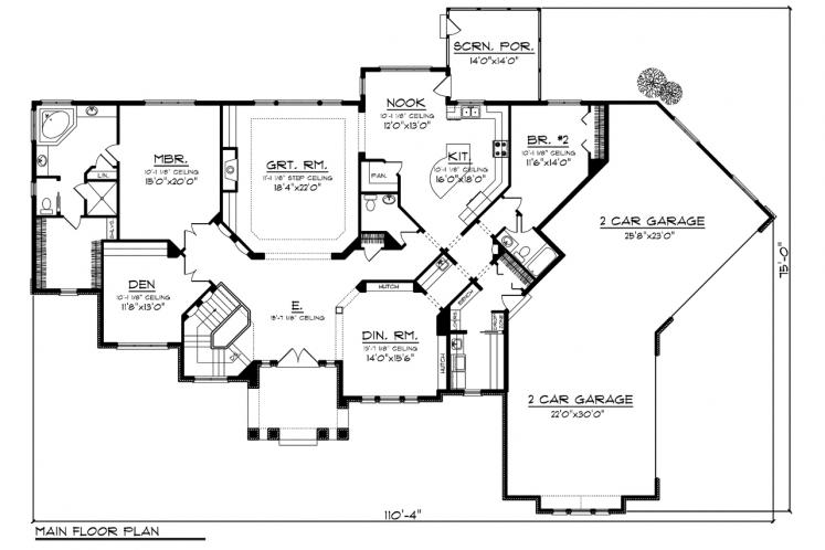 Ranch House Plan -  83029 - 1st Floor Plan