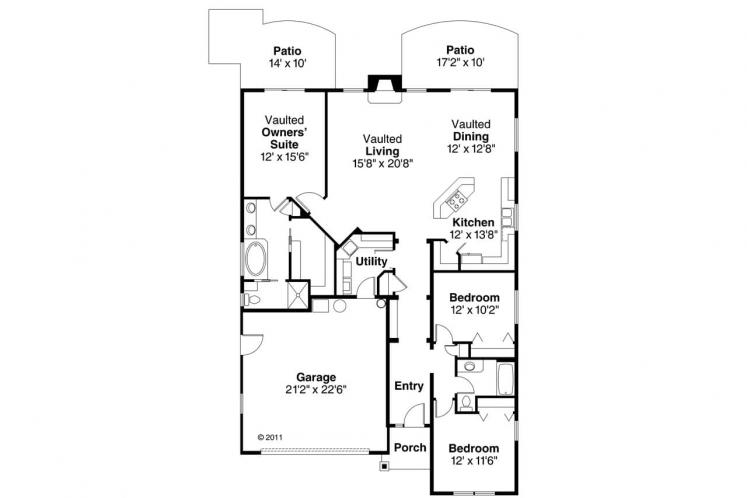 Cottage House Plan - Russellville 83183 - 1st Floor Plan
