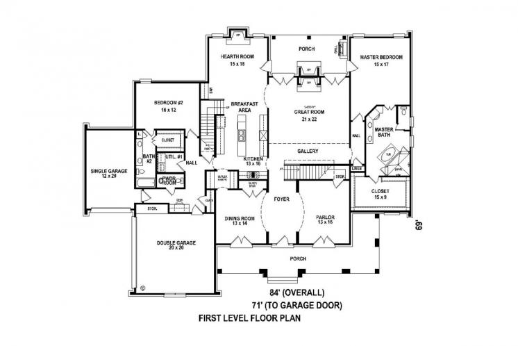 Classic House Plan -  83236 - 1st Floor Plan