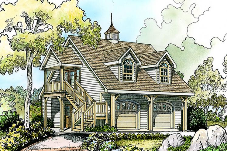 Cottage Garage Plan - Windcrest 83377 - Front Exterior