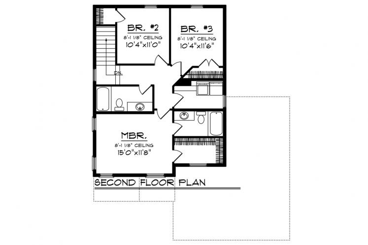 Modern House Plan -  83705 - 2nd Floor Plan