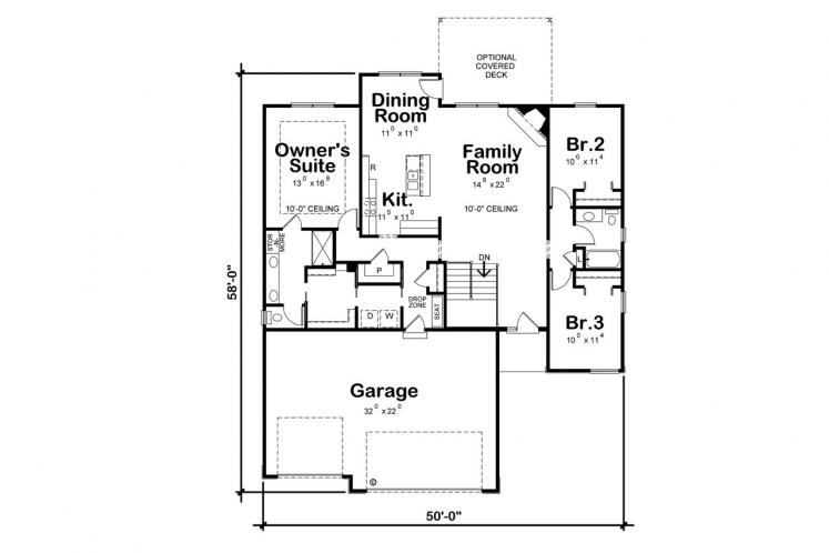 Contemporary House Plan - Jensen Chase 83918 - 1st Floor Plan