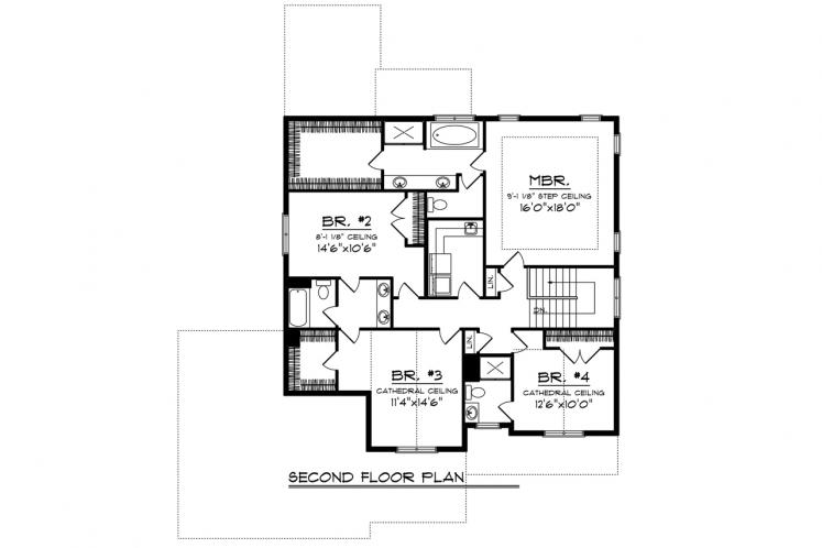 Country House Plan -  84194 - 2nd Floor Plan