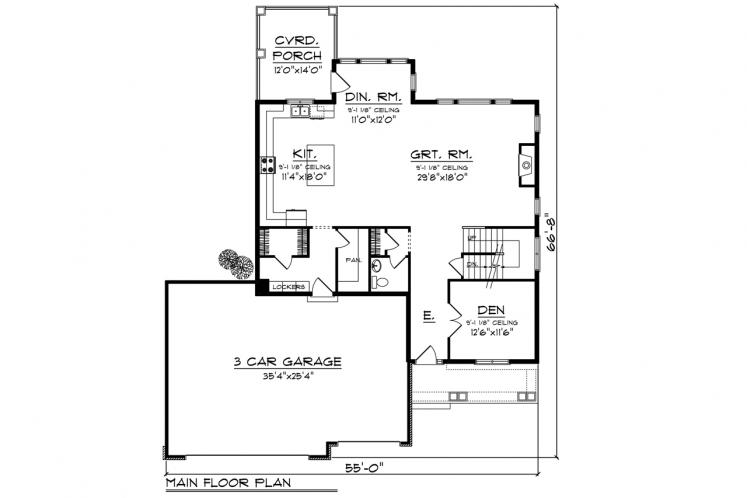Traditional House Plan -  84194 - 1st Floor Plan