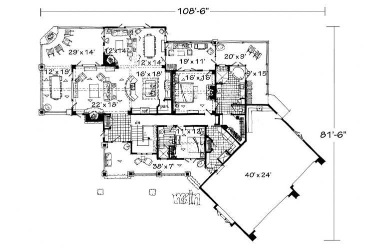 Lodge Style House Plan - Piney Hill 84243 - 1st Floor Plan