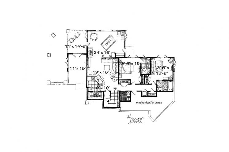 Traditional House Plan - Piney Hill 84243 - Basement Floor Plan