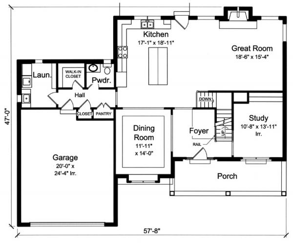 Colonial House Plan - The Bellebrooke 84293 - 1st Floor Plan