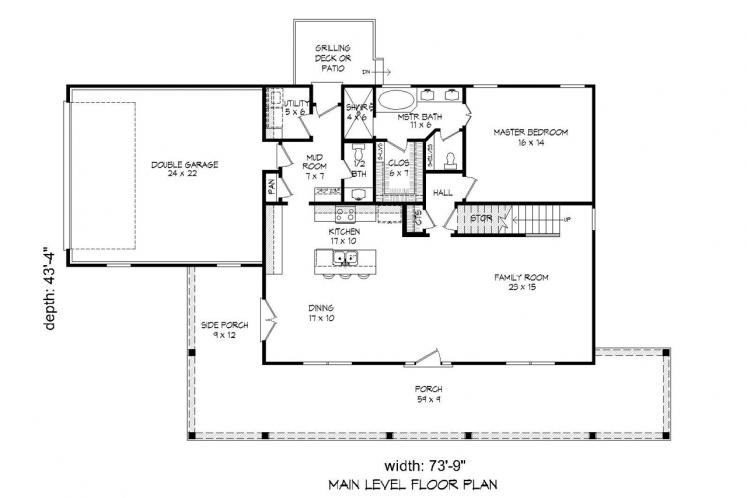 Country House Plan -  84778 - 1st Floor Plan