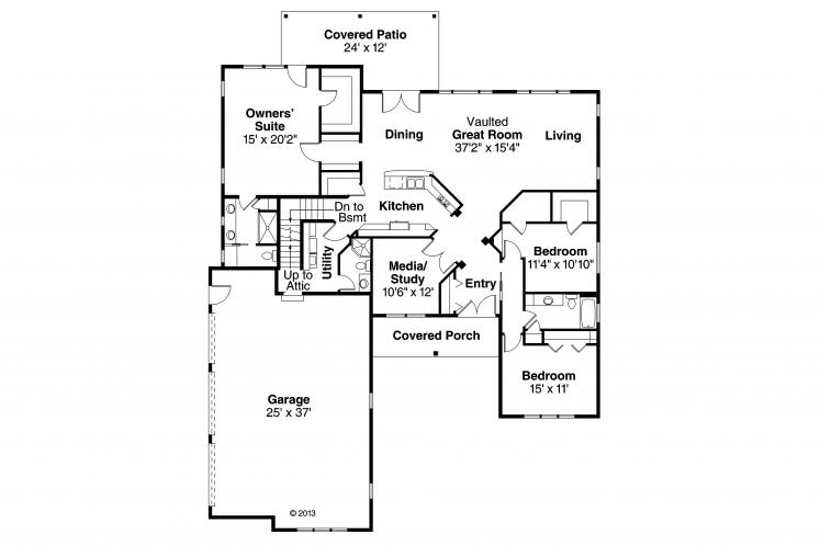 Southern House Plan - Bakersfield 84900 - 1st Floor Plan