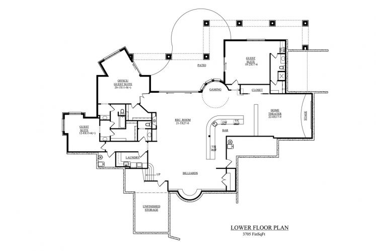 Mediterranean House Plan - La Villa Diciotto 84916 - Basement Floor Plan