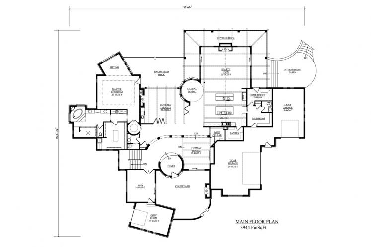 Tuscan House Plan - La Villa Diciotto 84916 - 1st Floor Plan