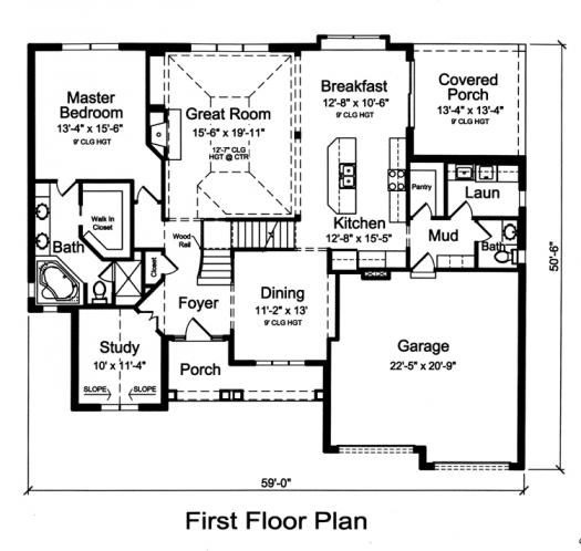 Country House Plan - The Glen Arbor 85090 - 1st Floor Plan
