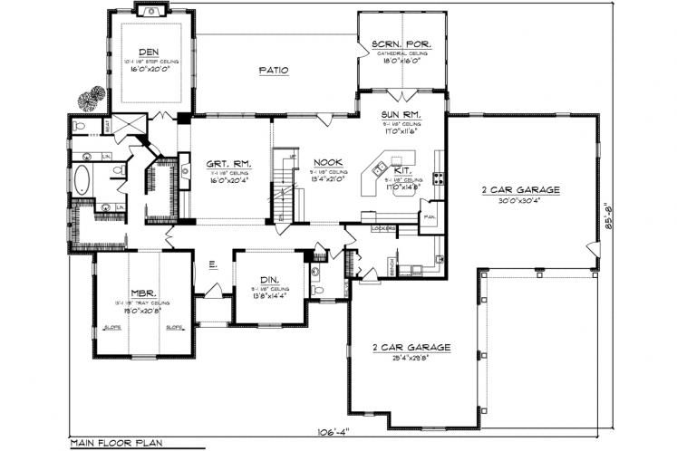Country House Plan -  85099 - 1st Floor Plan