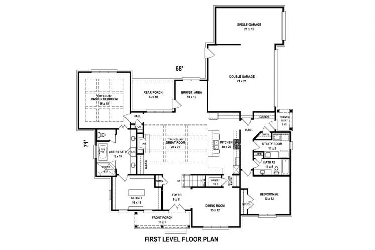 Southern House Plan -  85161 - 1st Floor Plan