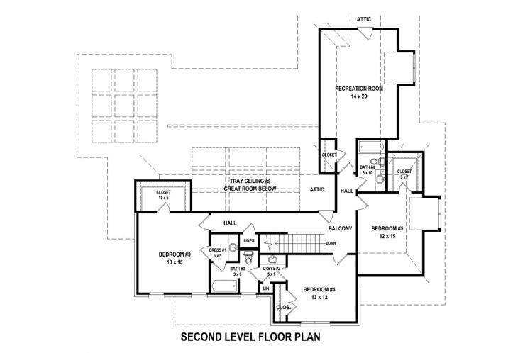 Traditional House Plan -  85161 - 2nd Floor Plan