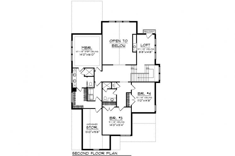 Traditional House Plan -  85647 - 2nd Floor Plan