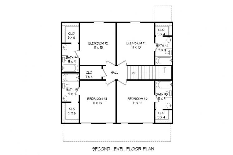 Traditional House Plan -  85655 - 2nd Floor Plan