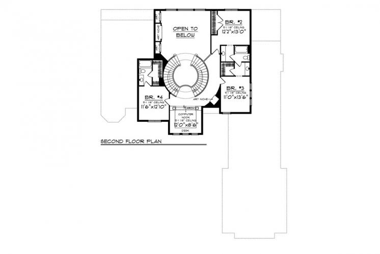 Spanish House Plan -  85673 - 2nd Floor Plan