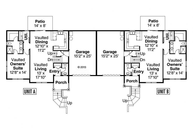 Cottage Multi-family Plan - Vancouver 85847 - 1st Floor Plan