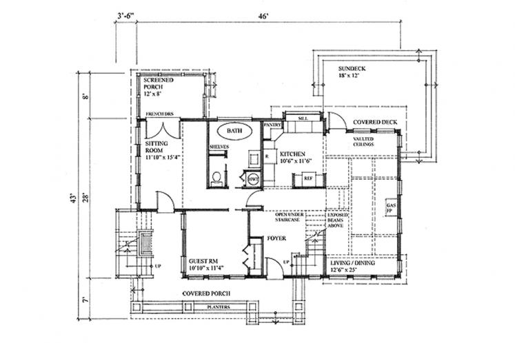 Country House Plan - Seacalm 85854 - 1st Floor Plan