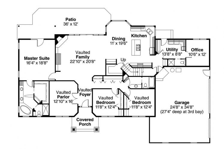 Country House Plan - Maxwell 85996 - 1st Floor Plan