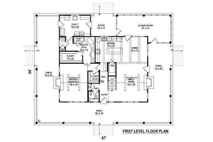 Farmhouse House Plan -  86088 - 1st Floor Plan