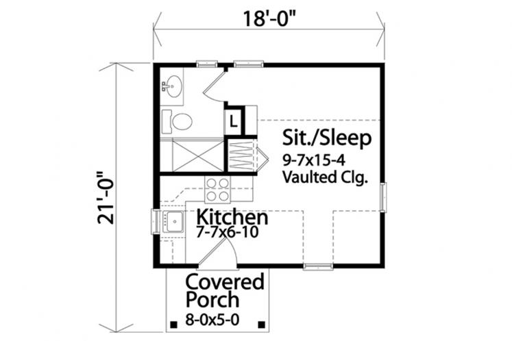 Cottage House Plan -  86156 - 1st Floor Plan