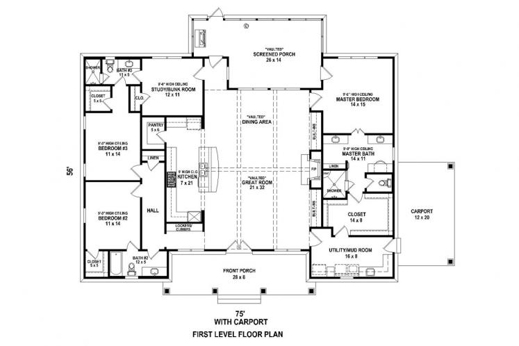 Traditional House Plan -  86234 - 1st Floor Plan