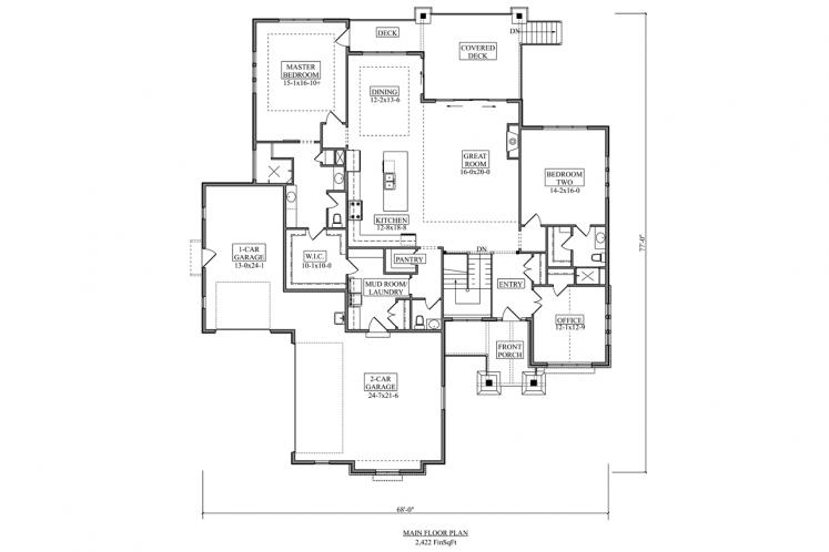 Ranch House Plan - Aspen Grove 86311 - 1st Floor Plan