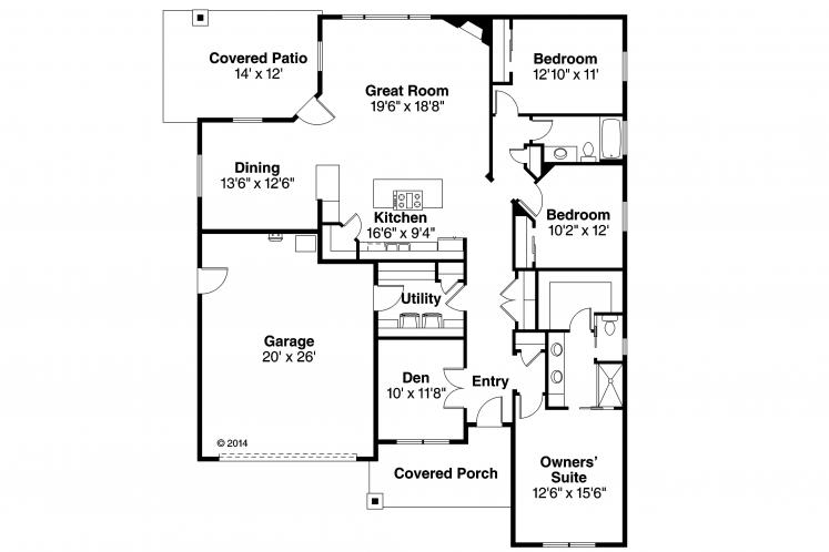 Prairie House Plan - Westfall 86694 - 1st Floor Plan