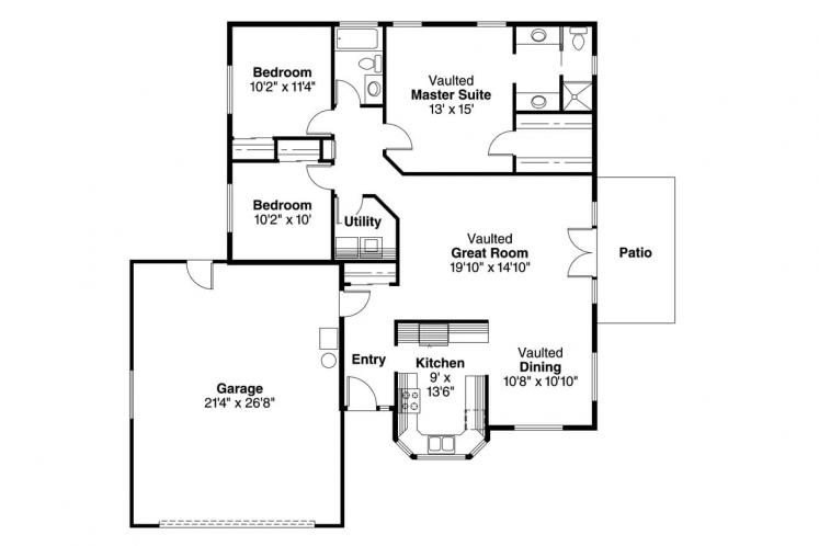 Cottage House Plan - Harney 86740 - 1st Floor Plan