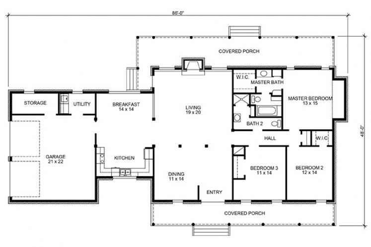 Country House Plan - Brodie 86756 - 1st Floor Plan