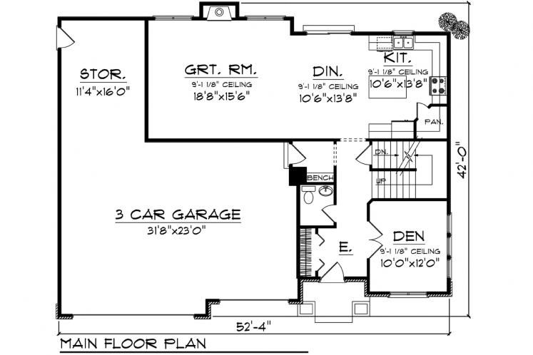 Spanish House Plan -  87598 - 1st Floor Plan