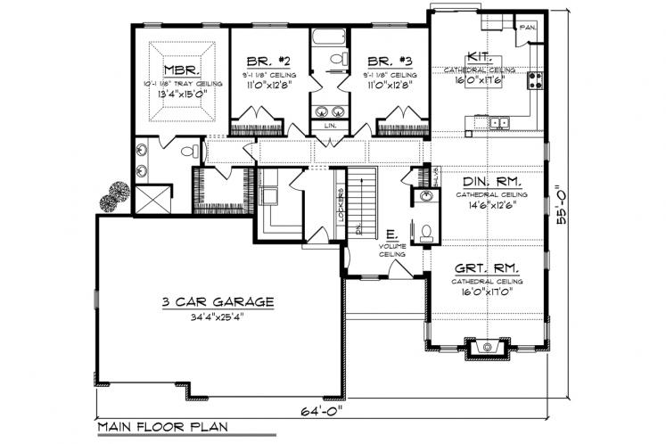 Traditional House Plan -  87648 - 1st Floor Plan